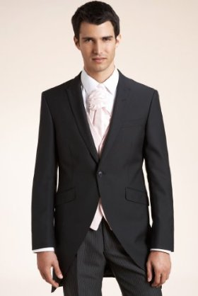 Men;s formal wedding suit in black with pin stripe matching trousers