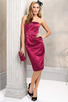 Chic satin occasion dress in dark rose colour