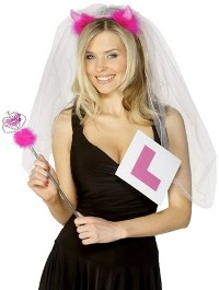 Hen with L Plates and Wedding Veil