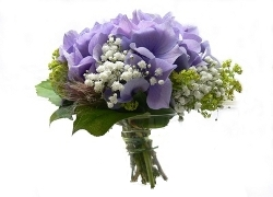 Wedding Bouquet with Purple Flowers