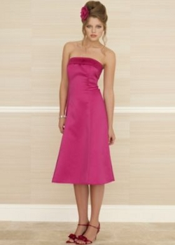 fuschia satin bridesmaid dress