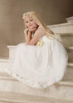 Fleur petal ivory bridesmaid dress