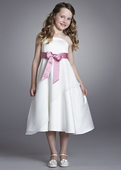 John Lewis Girl Tiered Contrast Sash Dress, Ivory