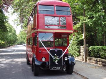 Routemaster London Bus being used as wedding transportation