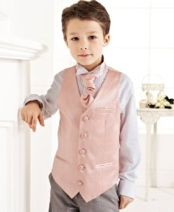 boy's pink formal waistcoat and cravat