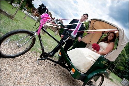 Rickshaw used for wedding transport