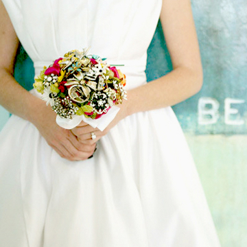 Alternative wedding bouquet made from antique broaches