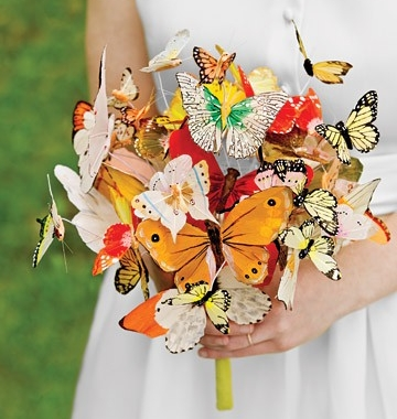 Wedding bouquet made from paper butterflies