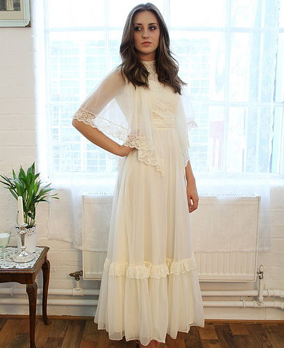 Vintage 1970s Angel Sleeved Wedding Dress